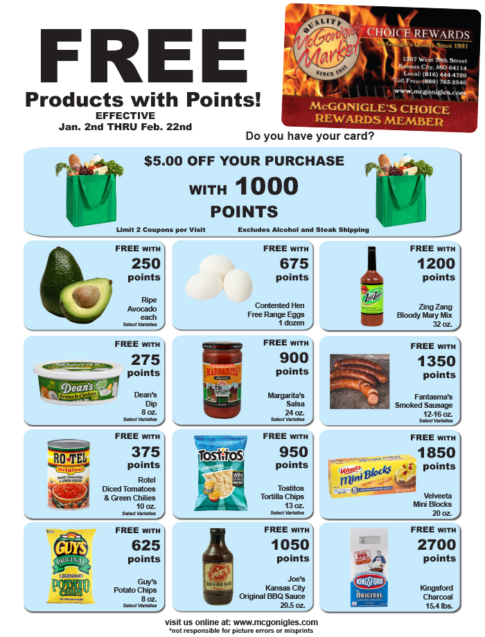 view mcgonigles choice rewards program products